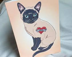 siamese cat birthday etsy