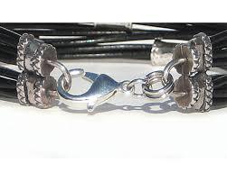 bracelet beads silver images Men 39 s twelve strand black leather cord bracelet with silver beads jpg