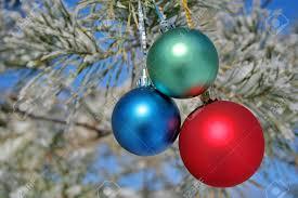 christmas tree decorations three balls on pines branch stock