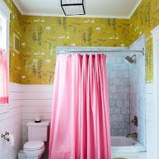 Yellow And Pink Bathroom Girls Bathroom Wallpaper Design Ideas