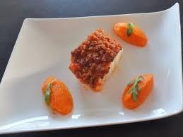 cuisiner dos de cabillaud dos de cabillaud crumble de chorizo purée de carottes safran