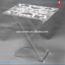 white decorated clear acrylic tv tray folding coffee table tv tray
