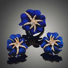 online shop austria crystal blue spray paint starfish earrings