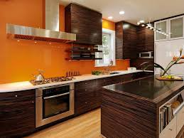 Brown Wooden Cabinet Charming Modern Orange Kitchen Decor With Brown Wooden Cabinet And