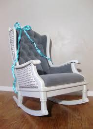 antique vintage nursery rocker rocking chair white grey velvet