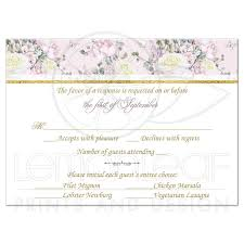 response card response card blush pink gold white roses and lilacs