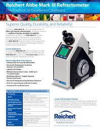 abbe mark iii refractometer brochure reichert technologies