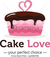 wedding cake logo clip vector of vector shiny pink cake logo with chocolate
