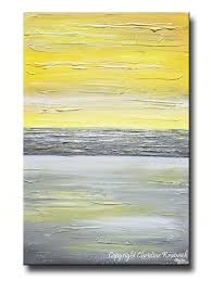Contemporary Art Home Decor Giclee Print Art Abstract Yellow Grey Painting Vertical Wall Art