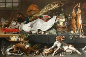 larder with dead game a swan and a lobster fruit vegetables and