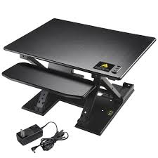electric height adjule computer desk ergonomic motorized sit stand desktop converter black 0