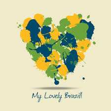 paint heart with brazil colors vector free download