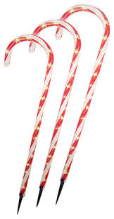 Outdoor Christmas Decorations Stakes by Lighted Outdoor Shimmering Candy Cane Christmas Lawn Stakes Set