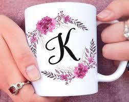 Pretty Mugs Initial Mug Etsy