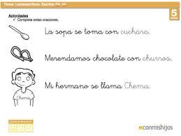 imagenes para colorear y escribir oraciones letra ch ficha de lectoescritura para niños