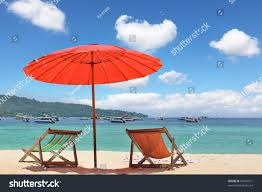 Beach Shade Umbrella Tropical Paradise On The Shores Of The Azure Sea Red Beach