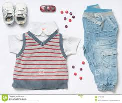 Trendy Infant Boy Clothes Top View Fashion Trendy Look Of Baby Boy Clothes And Stuff Stock