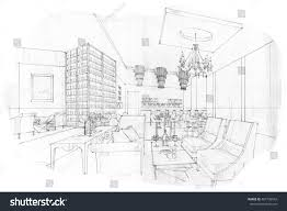 interior sketches into digital color black stock illustration