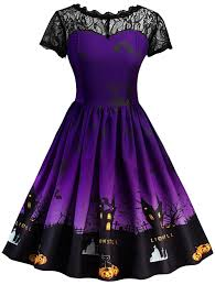 halloween vintage lace insert pin up dress purple xl in vintage