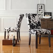 furniture homelegance royal black cow hide fabric parson chairs