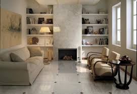 decoration gorgeous white wooden bookshelf and grey fabric sofa