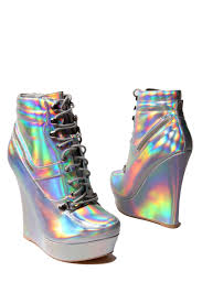 Holographic Clothing For Sale Final Sale Honfleur 18 Hologram Sneaker Wedge Holo