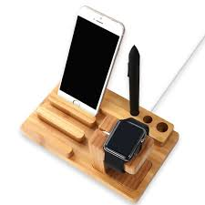 telephone stand desk organizer amazon com wood charging station wooden dock 3 in 1 bamboo stand