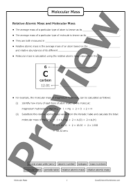 Molar Mass Calculations Worksheet Molecular Mass Science Images Reverse Search