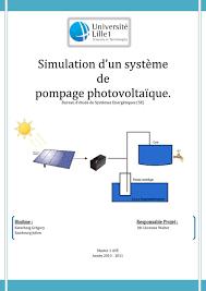bureau d ude photovoltaique simulation d un système de pompage photovoltaïque pdf