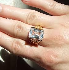 10 karat diamond ring vintage emerald cut nouveau 10 carat white topaz