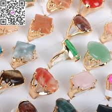 wholesale gold rings images 10pcs lot wholesale mixed design crystal gems natural stone rings jpg