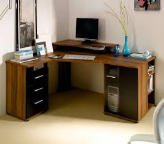 Glass And Wood Computer Desk Furniture Elegant L Shape Brown Textured Wood Small Corner