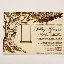 Backyard Wedding Invitation by Tree With Swing Wooden Wedding Invitation Real Natural Wood