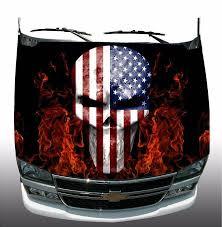 American Flag Skull American Flag Skull Fire Flames Hood Wrap Wraps Vinyl Graphic