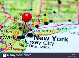 Map Of New Jersey Cities Jersey City Pinned On A Map Of New Jersey Usa Stock Photo