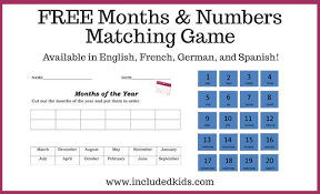 months of the year and numbers matching game in english spanish