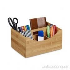 organiseur de bureau en bois relaxdays organiseur de bureau en bambou pot à crayons 4