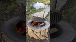 Fire Pit Liner by Tree Stump Fire Pit With Stainless Steel Liner Grill Youtube