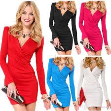 deep v neck women bodycon dress long sleeve one piece mini
