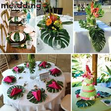 hawaiian theme party meidding 12pcs artificial tropical palm leaves simulation leaf for