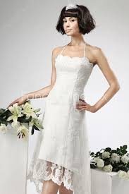hem wedding dress top halter a line lace wedding dress high low hem at