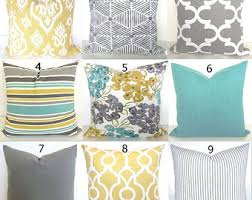 Linen Covers Gray Print Pillows White Walls Grey Turquoise Pillows Etsy