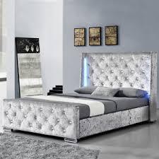bed frame with lights modern silver crushed velvet bed frame with led lights double king