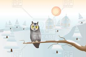 owl christmas owl on branch christmas card royalty free vector clip image