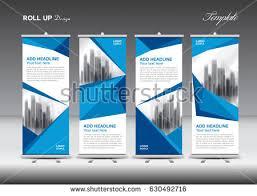 blue white roll banner template design stock vector 630492716