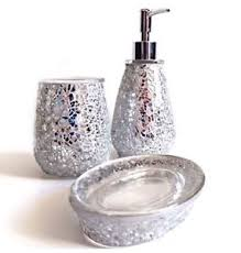 Crackle Glass Bathroom Accessories by Set 3 Silver Crackle Glass Sparkly Glitter Soap Dispenser U0026 Dish