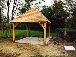 green oak framed wooden gazebo garden building pergola kit