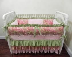 Pink And Green Crib Bedding Green Crib Bedding Etsy