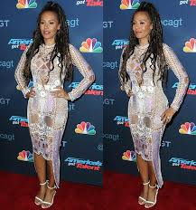 mel b shows skin in crochet dress and tom ford heels