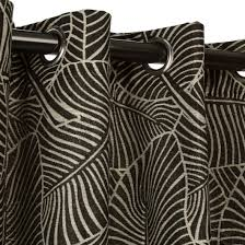 Leaf Pattern Curtains Shop Polyester Leaf Pattern With Grommets Black Commonwealth